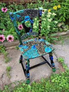 Painted peacock chair