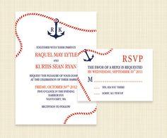Nautical Wedding Invitation and RSVP set  Printable by konadesigns, $25.00