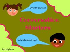 Fun Conversation Starters. Repinned by SOS Inc. Resources. Follow all our boards at pinterest.com/sostherapy for therapy resources.
