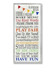 Rainbow Playroom Rules Wall Art
