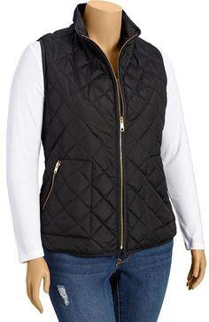 Plus Size Quilted Zip-Front Vests