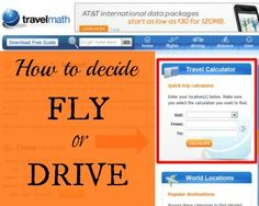 How to decide & compare if you'll Fly or Drive for your vacation: great tool to figure it out