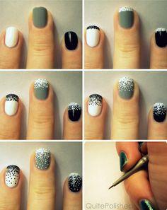 nail art tutorials, polka dots, color, nail designs, nail art ideas, black white, nail arts, gradient nails, nail tutorials
