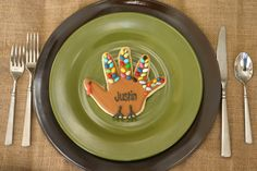 Handprint turkey cookies for place cards at the kids table