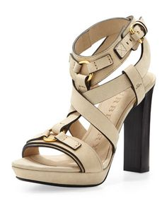 Strappy Thick-Heel Platform Sandal, Sand by Burberry at Neiman Marcus.
