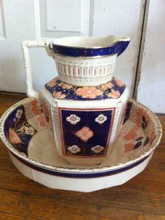 Vintage Antique Pitcher Wash Bowl Basin por BridgettsGadgets
