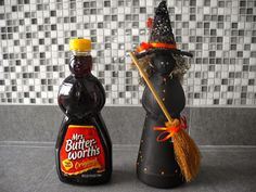 Make witches from Mrs. Butterworth's syrup bottles! #halloween