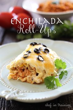 Enchilada Roll-Ups at chef-in-training.com ... These are so good! A great Mexican/Italian spin that my whole family LOVES! #Mexican #dinner