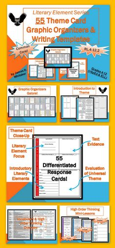 Want to Turn Your Students into Professors of Literature? ... Teaching Universal Theme Advanced Analysis Cards Common Core -- 55+ Pages of Resources!