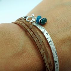 Wrap Bracelet  Leather and Silver  Personalized  by thebeadgirl, $78.00