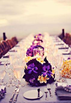 beach wedding, pulmerias, purple this is so beautiful.