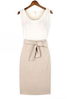European Style Round Neck Sleeveless Color Blocking Dress