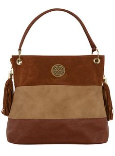 Tan colorblock slouch bag