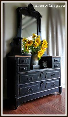 {createinspire}: Antique Vanity and Sunflowers
