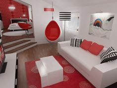 That chair is super fun and I love te  he rug! The red wall in the bedroom is super neato as well :)