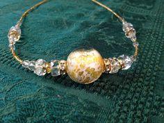 Murano glass necklace original genuine Italy italian Venice venetian \ GOLD FOIL #ERCOLEMORETTI $125.00