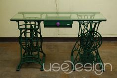 old sewing machine table; I love this. decor, sewing tables, glasses, old sewing machine tables, desks, sewing rooms, furnitur, design, old sewing machines