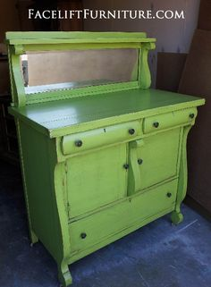 SOLD - Upright Buffet upstyled in distressed Lime Green, with Black Glaze. Re-purposed as a baby changing table. Facelift Furniture  http://www.faceliftfurniture.com/wp-content/gallery/bedroom-transformation/buffet-upright-after01.jpg