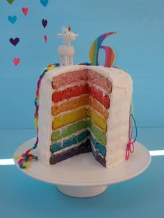 Rainbow Birthday Cake WITH a unicorn!!