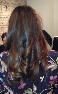 Shiny dark brown hair with subtle honey highlights