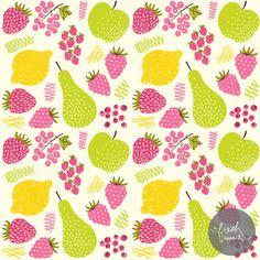 pears, lemons, strawberries, raspberries