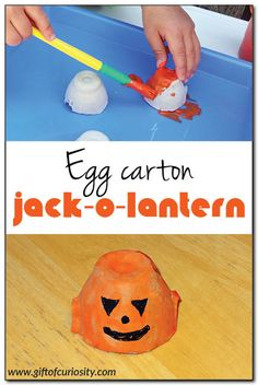 Egg carton jack-o-lantern craft. This is a super cute #Halloween craft that kids can make. Great for toddlers and older kids alike! || Gift of Curiosity