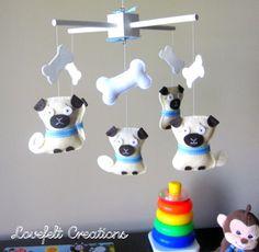 Baby Mobile - Pug Mobile - Dog Mobile - Doggy Nursery - Pug