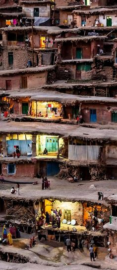 The mountain village of Masuleh in Iran where houses are built into the mountain side, and pedestrian walkways and courtyards are built on the roofs of houses below.