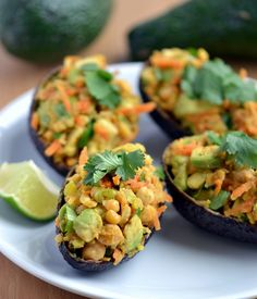 Chickpea Salad Stuffed Avocados | coconutandberries.com