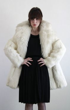 1950s Rabbit Fur Coat  Winter Jacket  Vintage Holiday by VeraVague, $285.00