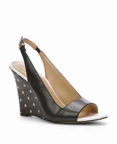 ANN TAYLOR LUCY LEATHER SLINGBACK WEDGES