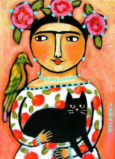 Frida with Cat and Parrot