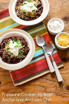 Pressure Cooker All-Beef Ancho and Anaheim Chili; just spicy enough to be interesting. [from Kalyn's Kitchen] #LowCarb #GlutenFree #CanBePaleo
