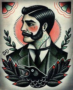 Victorian gentleman. Flash art tattoo. Traditional tattoo.
