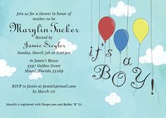 Customizable baby shower invitation template - It's a boy balloons