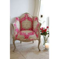Beautiful French chair with a modern twist ~ love the large hot pink, ivory and tan velvet damask fabric.