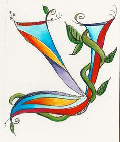 Dabbling in whimsical Hebrew letters. Hebrew Ayin by Allison Carter