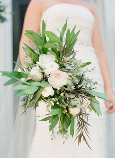 Wedding Bouquet with lots of greenery | See the Wedding On Style Me Pretty: http://www.StyleMePretty.com/2014/02/18/classic-lowndes-grove-plantation-wedding/ Buffy Dekmar Photography