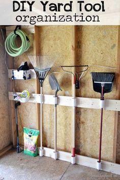 DIY Yard Tool organization #3M DIY garag organ, organizing garage tools, yard tool organizer, pvc pipe, diy yards, yard tools, garden, garage organization tools