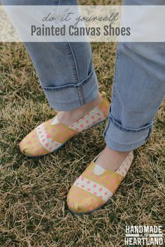 DIY Painted Canvas Shoes. Easy spring project to update your accessories.  handmadeintheheartland.com