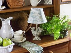 Birds Nest Accent Lamp available in two colors, taupe and verde gris   H199154 & H202560  http://qvc.co/-Shop-ValerieParrHill