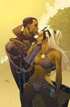 Storm & Black Panther - Leinil Yu