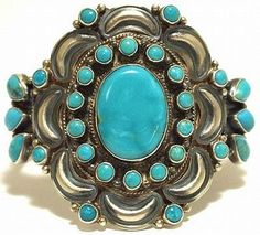 Handcrafted sterling silve turquoise cluster bracelet by Dean Brown, Navajo.