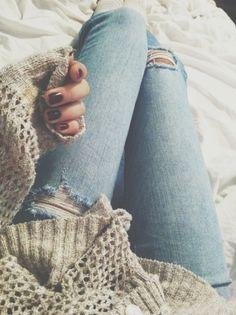 sweater + ripped denim.