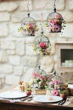 . table settings, vintage weddings, bird cage, birdcag, hanging flowers, floral arrangements, garden, little flowers, parti