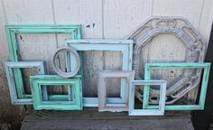 Set of 9 Upcycled Picture Frames - Mint, Aqua, & Grey Painted Frames - Distressed Scatter Frames -Nursery Decor Wedding Decor - Mint Nursery
