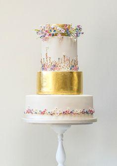 white + gold + petite flowers cake