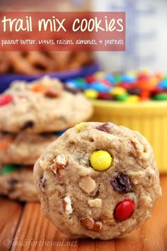 Trail Mix Cookies -- an easy, no mixer required recipe with all of your favorite snacks inside! Sweet, salty & so addictive!
