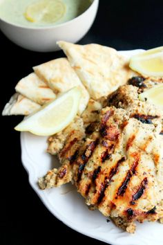 Grilled Greek Chicken, Family Style with Feta Tzatziki Sauce by creolecontessa #Chicken #Greek #Grilled #Healthy
