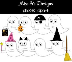 These ghosts can be a fun addition to any design!  It comes with 8 different ghosts:   Ghost dressed up as a cat Ghost dressed up as a pirate Ghost dressed up as a faerie Ghost dressed up as a witch Ghost with candy bag Ghost with a pumpkin Ghost with arms out Ghost with arms in